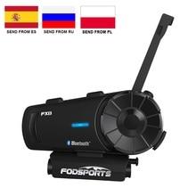 Fodsports FX8 אופנוע קסדת Bluetooth אינטרקום Moto קסדת אוזניות 1000m 8 רוכב BT האינטרפון Intercomunicador FM