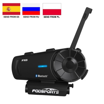 Fodsports-Intercomunicador para casco de motocicleta, aparato interfono FX8 con FM, auriculares y...