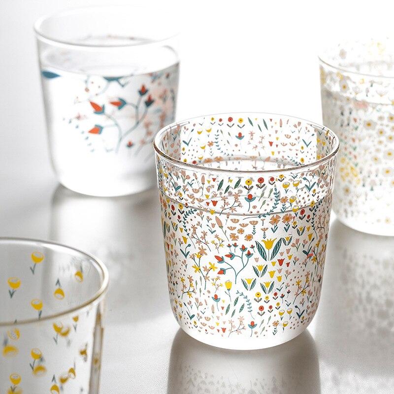 2pcs Ins Nordic Vintage Transparent Coffee Glass Cup Heat-resistant Milk Juice Tea Cups Print Home Wedding Glasses Novelty