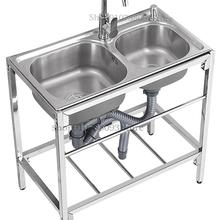 Kitchen Stainless Steel Simple Sink Double Tank Thickened Domestic Sink Sink Sink Vegetable Basin Single Wash Basin With Bracket