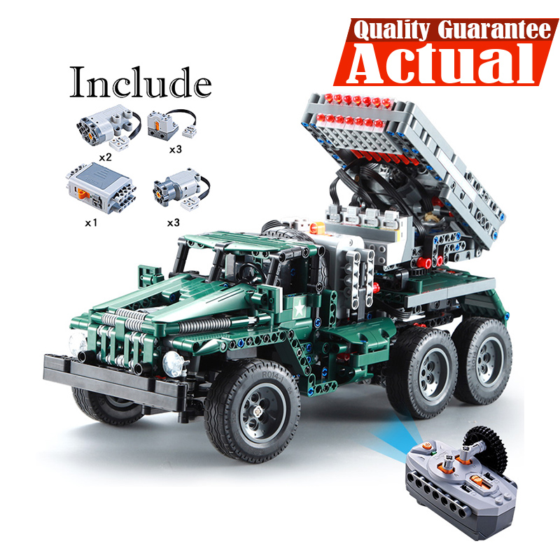 Launcher Truck 2in1 Military Remote Control Rocket 1369pcs With Motor 1:20 Scale Model Building Blocks Bricks War Toys