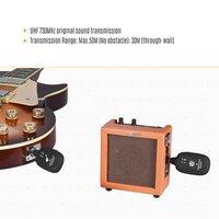 A8 UHF gitara Transceiver bezprzewodowy 730MHZ 50M zakres elektryczny Instrument na skrzypce basowe gitary Transceiver akcesoria w Akcesoria do głośników od Elektronika użytkowa na