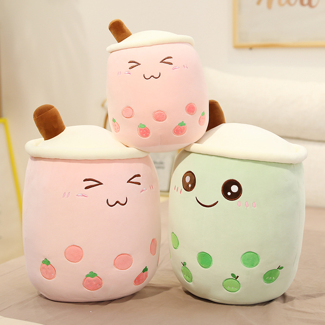 24~70cm Pearl Milk Tea Plushie Cartoon Big Fully Stuffed Drink Food Toy Snack Smile Face Home Bed Decor 2