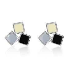 CodeMonkey Fashion tri-color square earrings personality mixed color design female models For Women  Jewelry E746