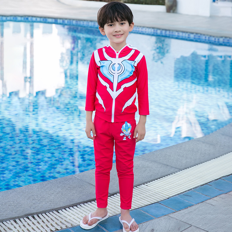 New Style KID'S Swimwear BOY'S Handsome Cartoon Ultraman Sun-resistant Long Sleeve Trousers Split Type Two-Piece Set CHILDREN'S
