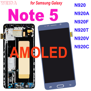 Super AMOLED LCD for Samsung Galaxy Note 5 Note5 N920 N920A LCD Display Touch Screen Digitizer Assembly Replacement with Frame original amoled screen for samsung galaxy note 3 lte n9005 lcd display touch panel digitizer with bezel frame assembly