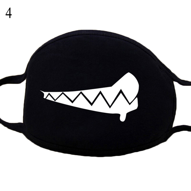 Hot Men Women Mouth Mask Fashion Cartoon Anime Face Mask Outdoor Face Warm Face Mask Unisex Cartoon Black Mask Kpop Black mask 4