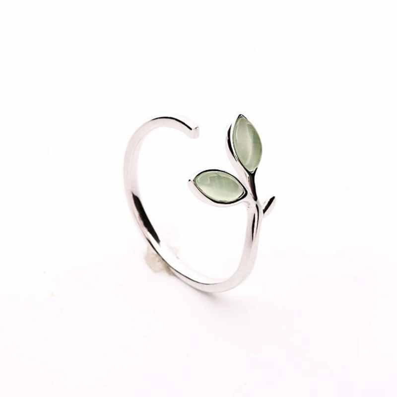 Hot Sale Korean Green Opal Leaf Leaves 925 Sterling Silver Open Rings For Women Girls Ladys Fashion Jewelry Gift YRI135