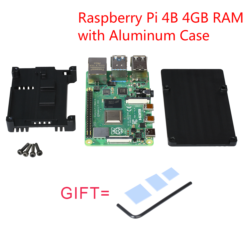 Raspberry Pi 4B Development Board Kit + Aluminum Case 4GB RAM Cortex-A72 Support WIFI Bluetooth 5.0 Raspberri Pi 4 Modle B New