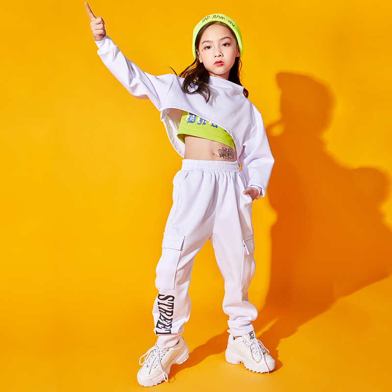 Kids Jazz Dance Costume Girls Hip Hop Performance Clothes Children Long Sleeve White Clothing Model Catwalk Show Outfit DQL1899