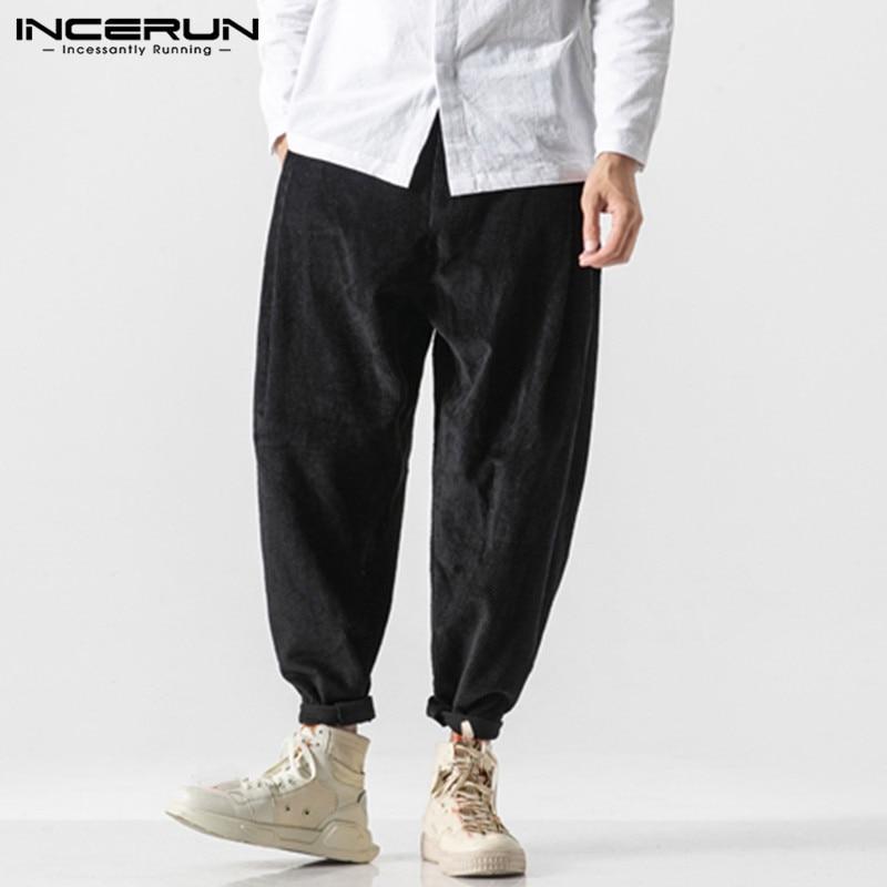 INCERUN Autumn Casual Men Solid Color Harem Pants Fashion Joker Baggy Wide Leg Trousers Joggers Street Mens Corduroy Sweatpants