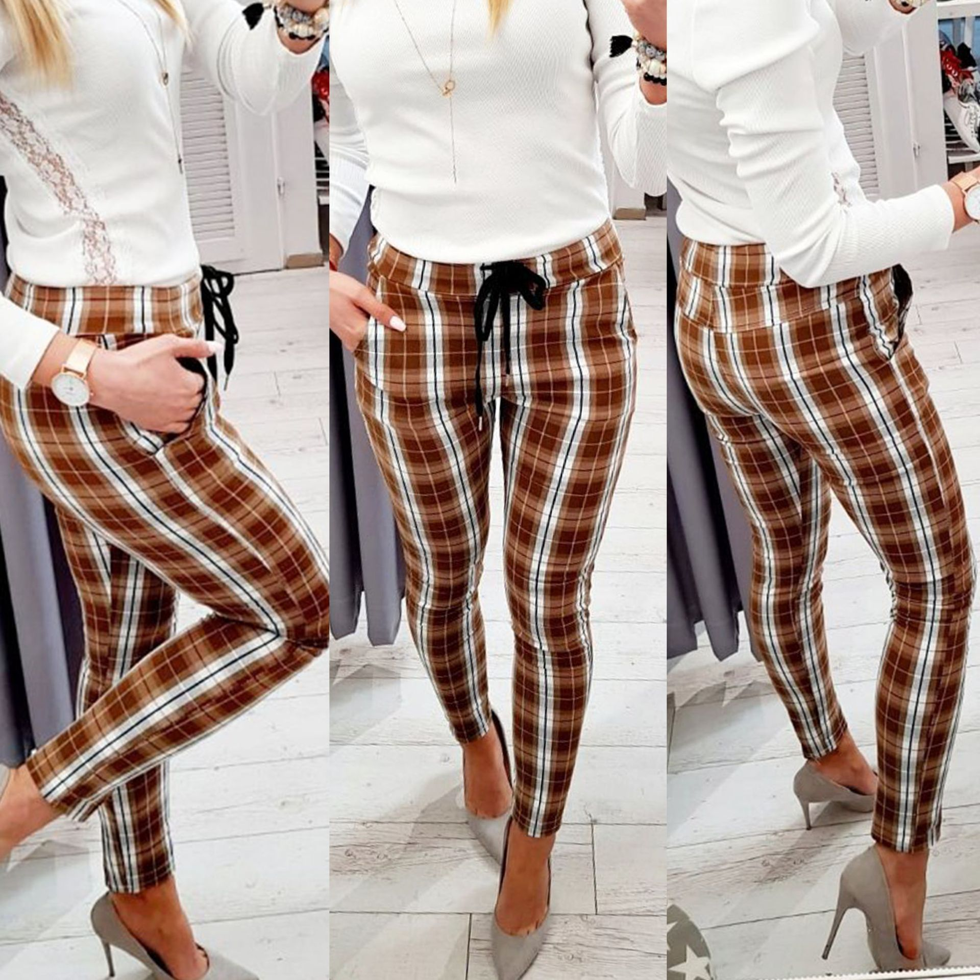 Fashion Casual Skinny Plaid Printed Elastic Waist Women Trousers Skinny Plaid Pants Women Streetwear  High Waist Pants