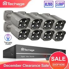 Techage H.265 8CH 5MP POE NVR комплект CCTV система безопасности двухсторонняя аудио AI IP камера Открытый Водонепроницаемый P2P комплект видеонаблюдения