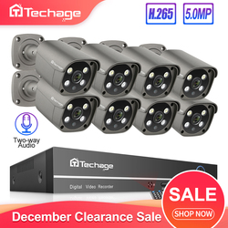 Techage H.265 8CH 5MP POE NVR Kit Security Camera System Two Way Audio IP Camera Outdoor Waterproof CCTV Video Surveillance Set