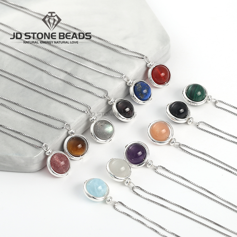 925 Sterling Silver 12 Constellations Natural Stone Rotation Lucky Beads Necklace Chain Round Beads Pendant  Free Shipping