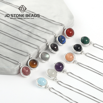 цена 925 Sterling Silver 12 Constellations Natural Stone Rotation Lucky Beads Necklace Chain Round Beads Pendant  Free Shipping онлайн в 2017 году