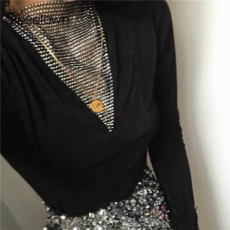 Sweetown 2020 Spring Fashion Diamonds Patchwork T-Shirts Women Sexy Clubwear Long Sleeve Skinny Ladies Tee Shirt Black Elegant