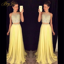 Fashion Bright Yellow Prom Dress 2019 Crystal Beaded Top Elegant Long Gown Sweep Train Plus Size Two Pieces Girl Dresses