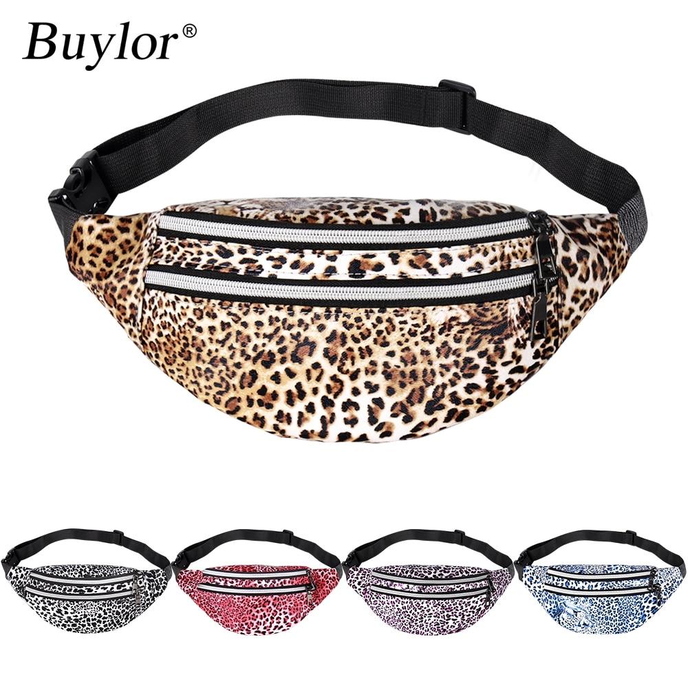 Buylor Fanny Pack Leopard Fashion Belt Bag Women Zipper Wait Packs Designer Cheetah Chest Bag Female Waterproof Crossbody Bag