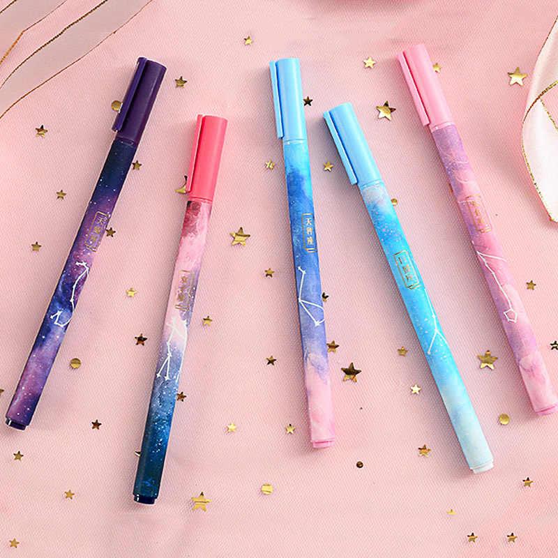 1PC Constellation Gel stylo Kawaii étoilé Gel stylo 0.5mm lisse écriture encre noire neutre stylo école bureau fournitures papeterie