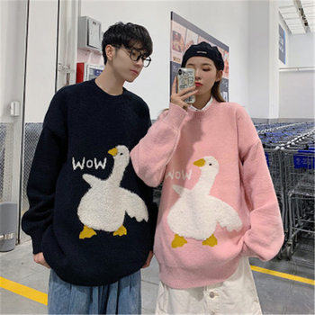 Plus Size Sweet Cartoon Goose Print Loose Knitted Sweater Women Fashion Casual Korean O Neck Long Sleeve Oversize Pullover Pull 1