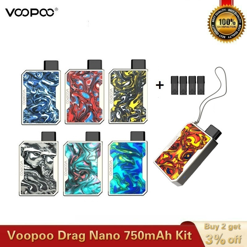 Original VOOPOO DRAG Nano Pod Kit 750mAh Battery With 1.0ml DRAG Nano Pod P1 1.6ml Cartridge E-cig Vape Kit VS Drag Mini Drag 2