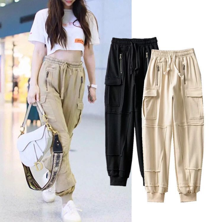 Angelababy Celebrity Style Bib Overall Women's INS Fashion High-waisted Sports Loose-Fit Multi-pockets Handsome Casual Beam Leg