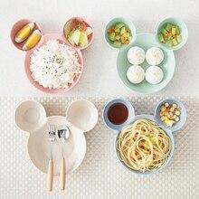 Мультяшная пшеничная чашка для кормления малыша посуда пшеничная Тарелка Для детей Детское блюдо тренировочные столовые приборы милые блюда лоток
