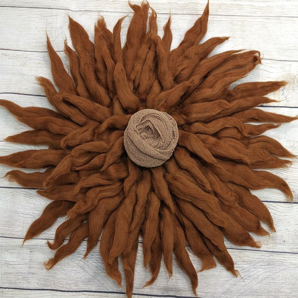 Dia=65cm 100% Wool Blanket Basket Woolen Filler Stuffer Soft Backdrop+140*30cm Stretch Knit Wrap For Newborn Photography Props