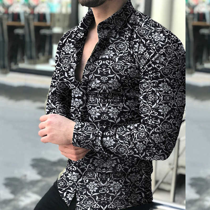 M-5XL Mens Printed Long Sleeve Business Dress Shirt Regular Office Casual Shirts