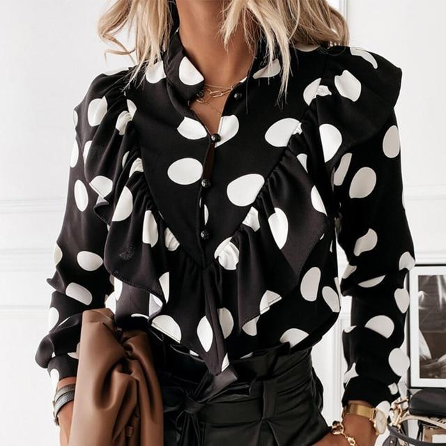 Casual Leopard Dot Print Ruffle Blouse Shirt Autumn Winter Long Sleeve Women Shirts Elegant Office Lady V-Neck Button Tops Blusa 4