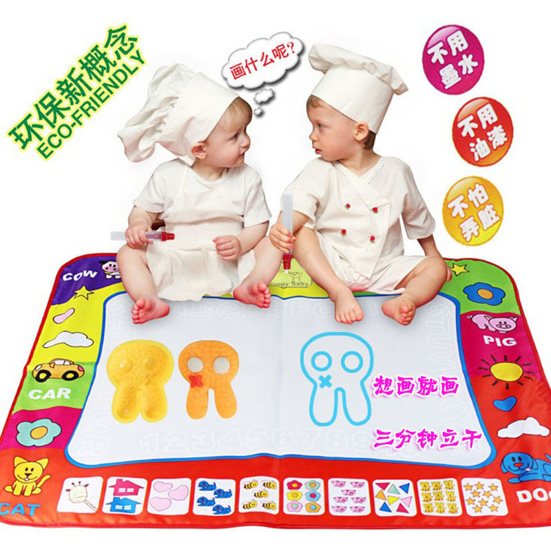 Children Large Size Magic Monochrome Water Canvas Doing Homework Blanket Graffiti Baby Educational Toy 80*60 Customizable