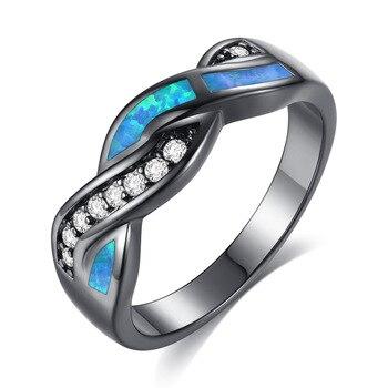 CAR023 negro-oro ondulado azul Aobao y ondulado blanco diamante Cruz anillos