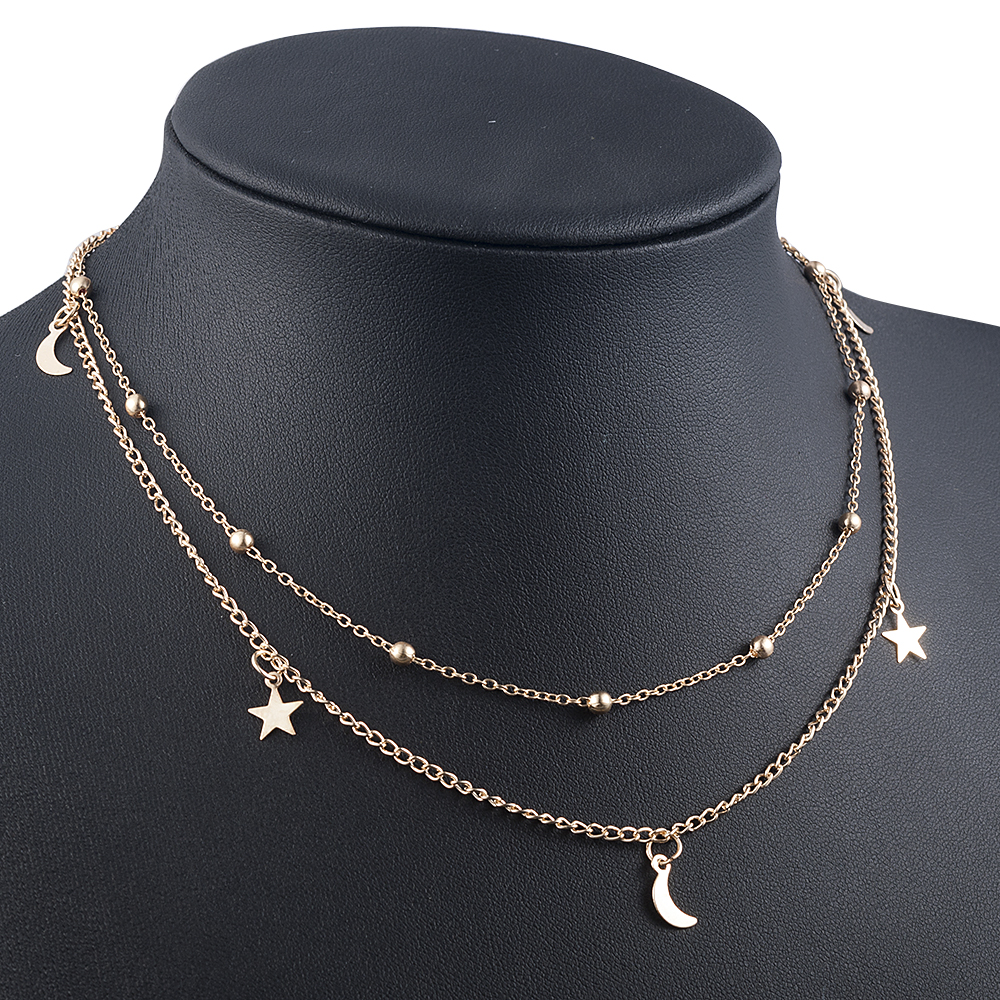 Elegant Women Lady Charm gold Moon Star Round Pendant Double Layer Chain Choker Necklace Party Jewelry Luxurious Christmas gift
