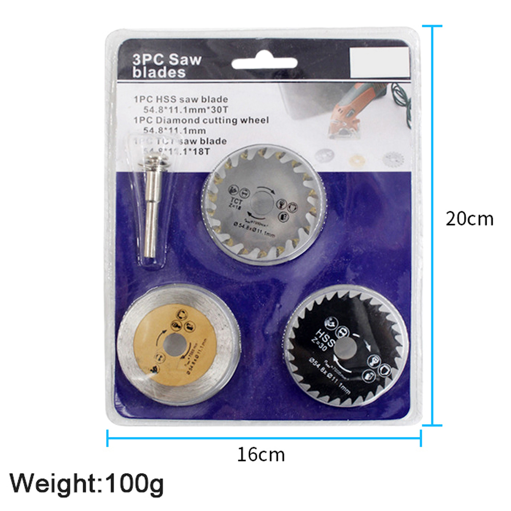 HSS Mini Wood Circular Saw Blade Set  54.8mm High Speed Steel Saw Blade 3pcs Cutting Blade Rotary Tool With Mandrel For Industry