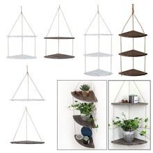 Étagères d'angle suspendues décoratives en bois, pour l'extérieur, jardin, cuisine, salle de bain, chambre à coucher, salon