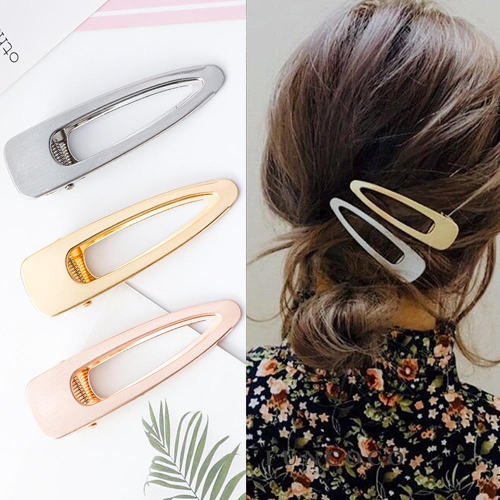 Модные Винтажные полые металлические заколки для волос для женщин и девушек матовые полые металлические геометрические заколки заколка дл...