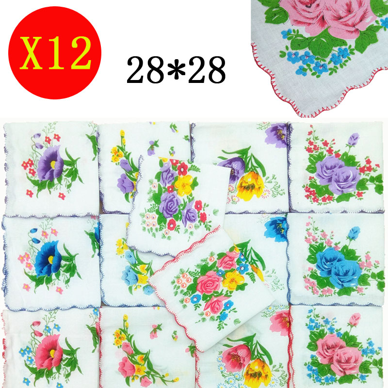 12pcs Women Handkerchief Antique Floral Embroidered Scarf Hankie Mint Ladies Hanky Children Towel Wedding Party Christmas Gift