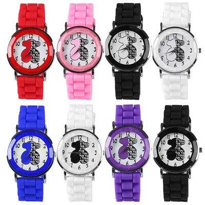 Fashion Classic Silicone Women Watch Simple Bear Style Quartz Wristwatch Silicone Rubber Casual Dress Girl Relogio Masculino