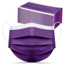 Mascarilla facial desechable de 3 capas, máscara protectora no tejida para Halloween, Cosplay, púrpura, 100 Uds.