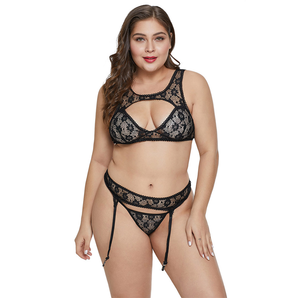 Shi Ying Adult Underwear Women's New Style Hollow Out Lace Printed Plus-sized Sexy Show Sexy Pajamas Suit 43092