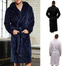 Кимоно, Мужская плюшевая шаль, халат, зимние теплые халаты, толстая удлиненная домашняя одежда для сна, халат с длинными рукавами, мужской Халат
