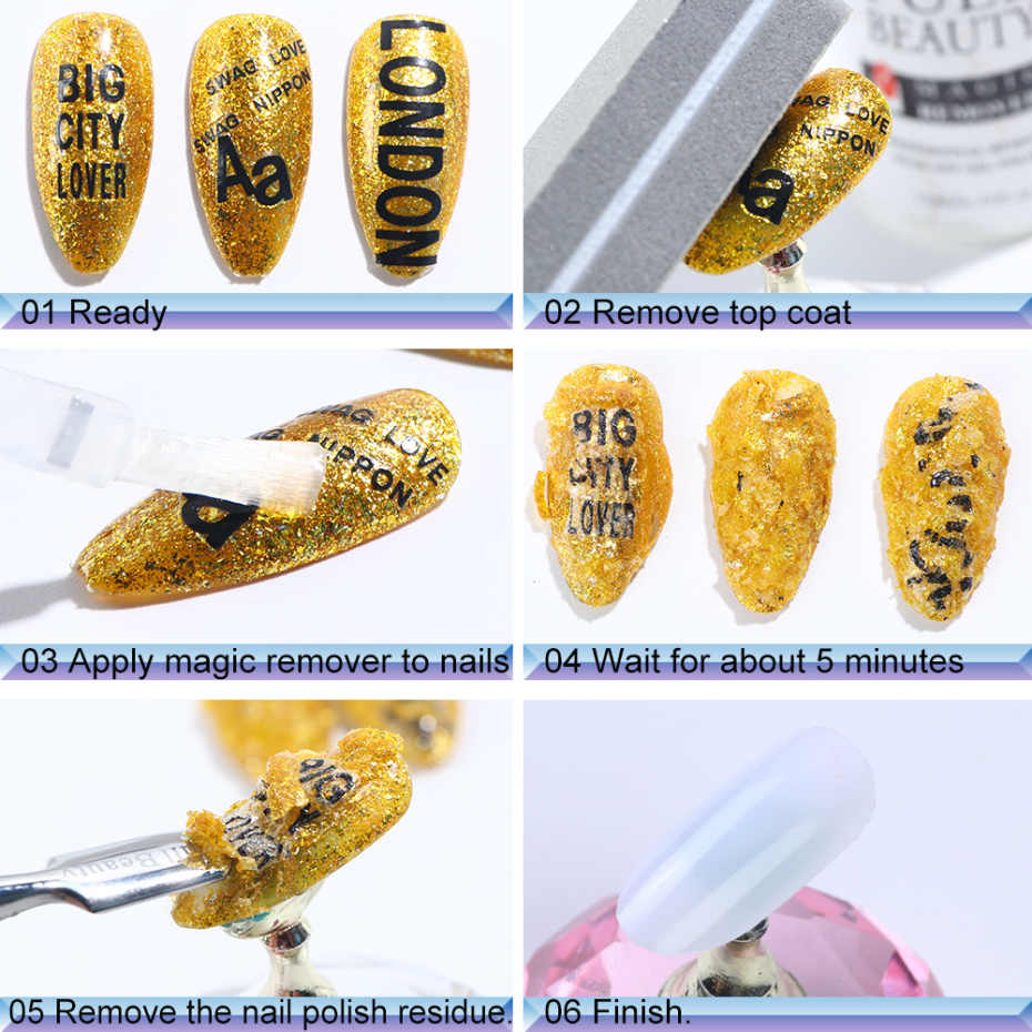 Dissolvant magique de Gel d'ongle de 15ML imbibent le dégraissant de vernis de Gel pour le nettoyant d'amorce d'ongle vernis les outils rapides liquides de manucure LA1038