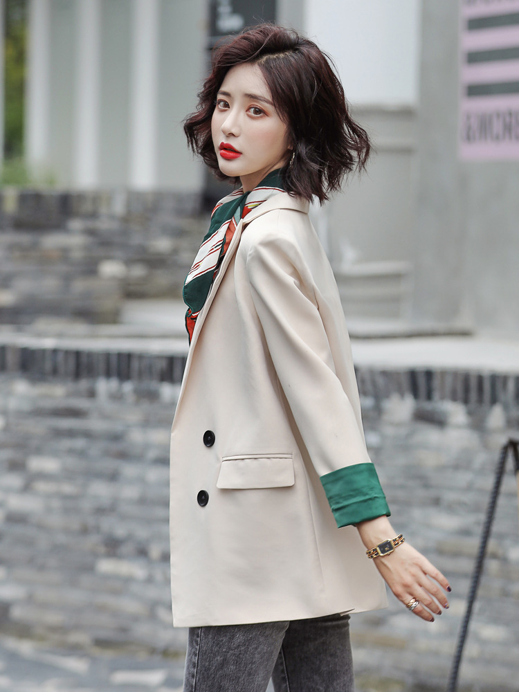 2019 Khaki Patchwork Sleeve Suit Leisure Autumn Winter Double-breasted Blazer Tops