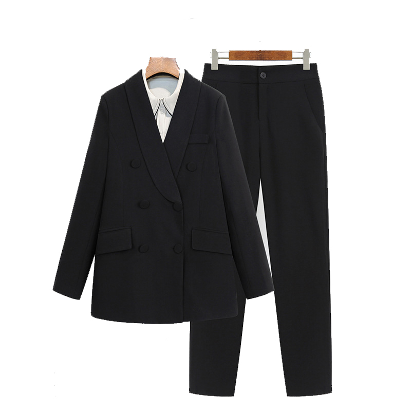 High Quality Women's Suits Large Size XL-4XL Autumn Professional Slim Double-breasted Black Blazer Female Casual Pants Sets 2019