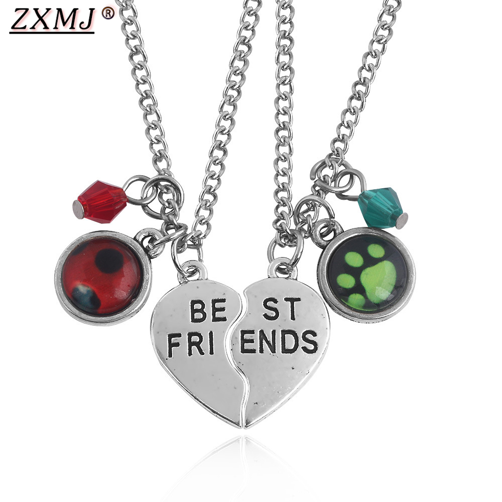 ZXMJ Ladybug Girl Noir Necklaces BEST FRIENDS Half Broken Love Heart Pendant Solid <font><b>Couples</b></font> <font><b>Jewelry</b></font> Gift Valentine's Day Necklace image