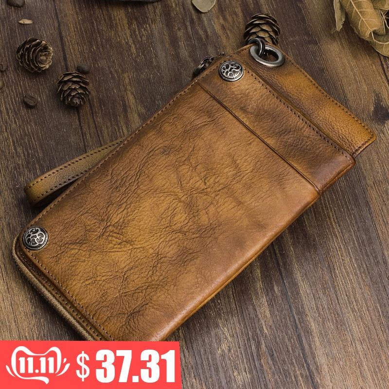AETOO Handmade Leather Wallet Long Wallet Retro Men Hand Bag Leather Large Capacity Zipper Phone Bag Organizer Vintage