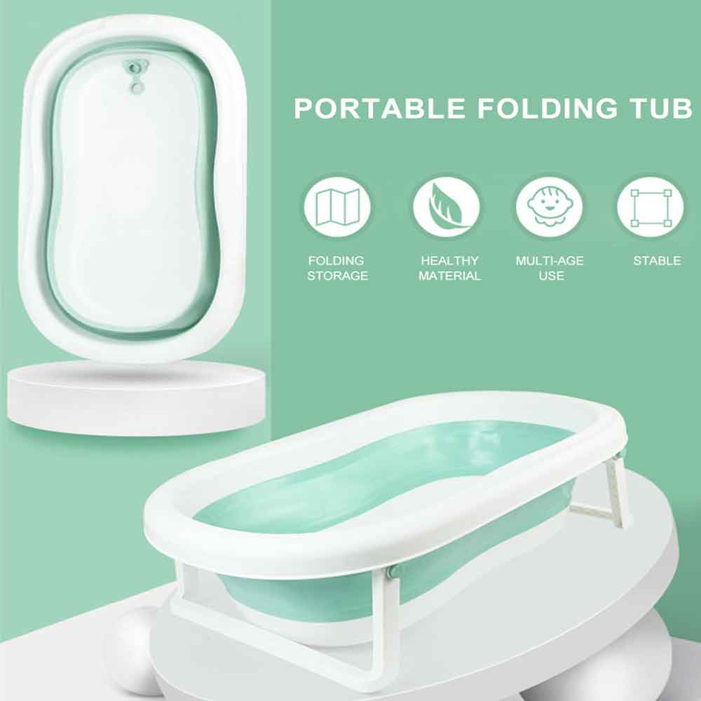 Newborn Baby Folding Bath Tub Portable Children Large Size Non-Slip Safe Bathtub Infant Shower Bath Pad Baby Shower Soft Pillow