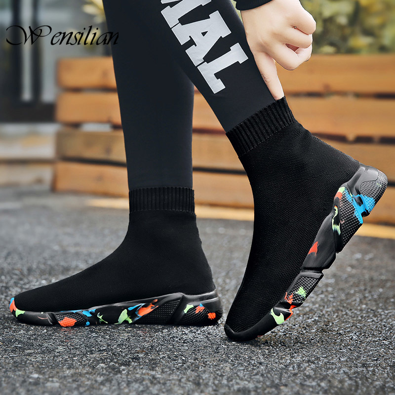Sock Sneakers Mens Casual Shoes Slip On Men Shoe High Top Sneakers For Men Non Leather Casual Shoes Breathable Zapatillas Hombre
