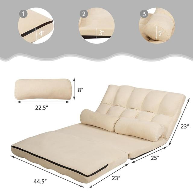 Foldable Floor Sofa Bed w/ 6-Position  2